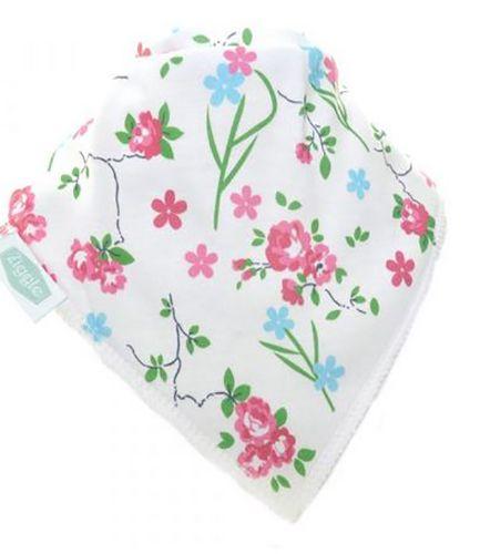 Flower Print On White Bandana Bib