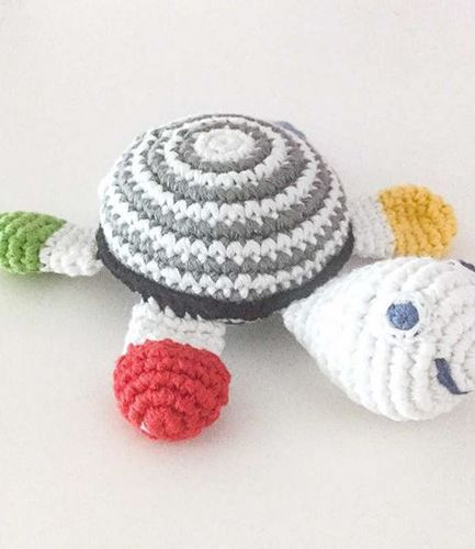 Crochet Turtle Black White Rattle