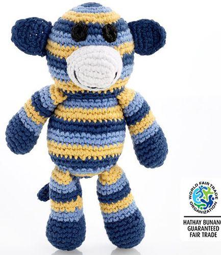 Crochet Soft Monkey Blue Rattle