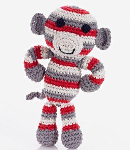 Crochet Soft Monkey Red Rattle