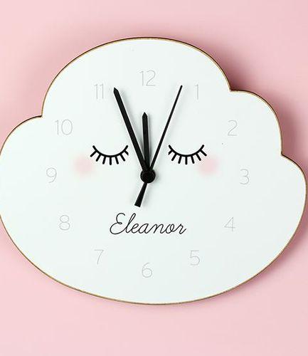 Personalised Eyelash Cloud Shape Wooden Clock