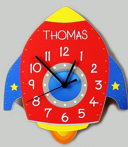 Personalised Rocket Shaped Wooden Clock