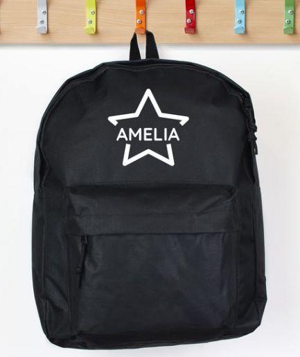 Personalised Backpack Black Star