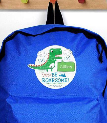 Personalised Backpack Blue Dinosaur