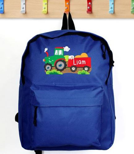 Personalised Backpack Blue Tractor