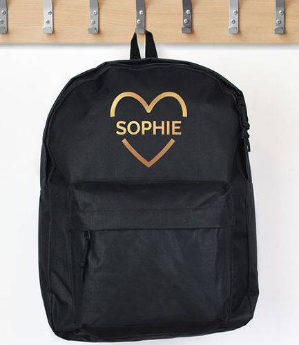 Personalised Backpack Gold Heart