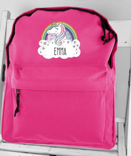 Personalised Backpack Pink Unicorn