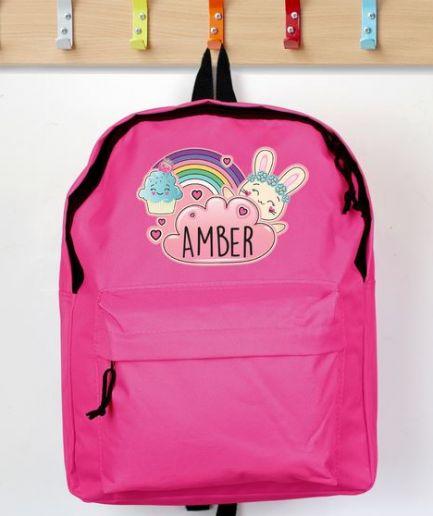 Personalised Backpack Pink Cute Bunny