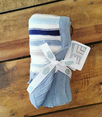 Blue and Grey Stripe Baby Blanket
