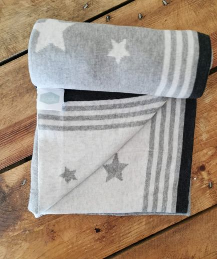 Grey Star Knit Baby Blanket