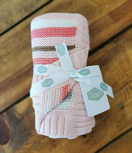 Pink and Grey Stripe Baby Blanket