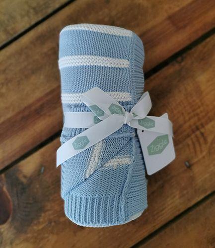 Blue Stripe Knit Baby Blanket