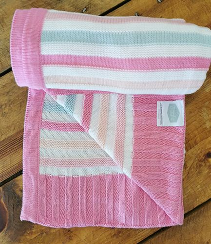 Pink and Green Stripe Baby Blanket