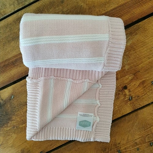 Pink and White Stripe Baby Blanket