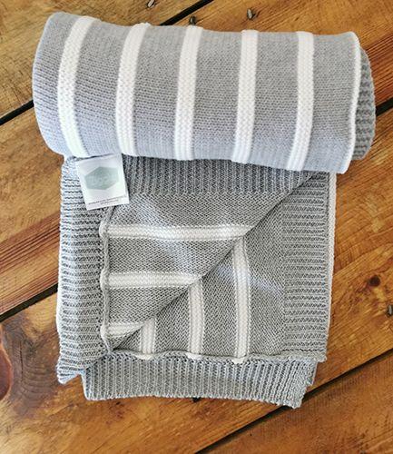 Grey Stripe Knit Baby Blanket