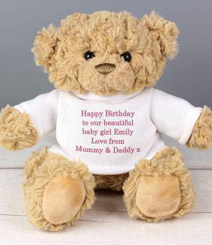 Personalised Message Teddy Bear - Pink