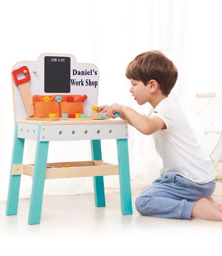 Personalised Wooden Mini Tool Bench with Accessories