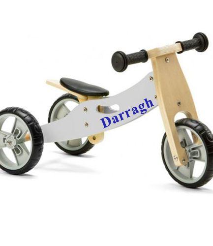 Personalised Mini Balance Bike 2 in 1 Grey