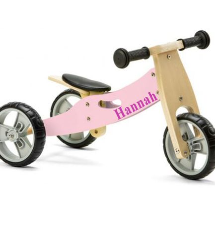 Personalised Toddlers Mini Balance Bike 2 in 1 Pastel Pink