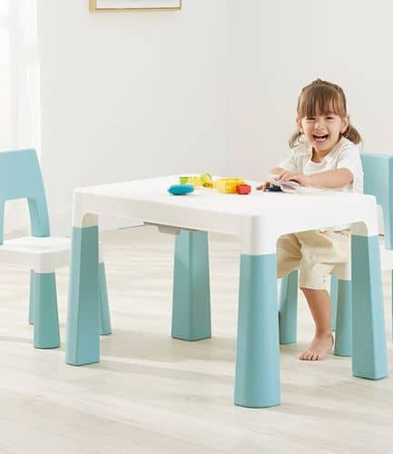 Kids Height Adjustable Table and 2 Chairs - Green and White