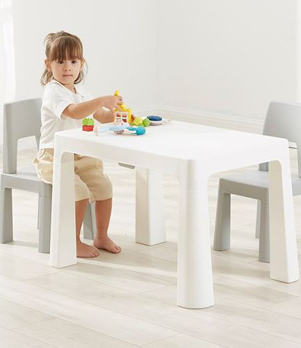 Kids Height Adjustable Table and 2 Chairs - White and Grey